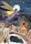 Engel fliegt über die Stadt