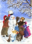 Kinder bauen Schneemann