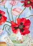 Mohnblumen in bunter Vase