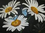 Margeriten mit blauen Schmetterlingen für Wilfried