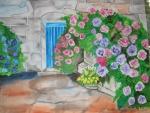 Hortensienbüsche im Hof