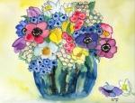 bunter Frühlingsstrauß in Vase