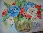 Blumenstrauß mit Hortensien und Rosen