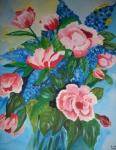 rosa Rosen mit Rittersporn