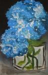 blaue Hortensien im Glas