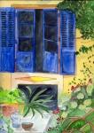 blauer Fensterladen