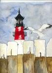 Leuchtturm mit Möwe