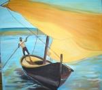 Mann im Segelboot