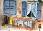 Fensterläden miti Wäscheleine