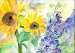 Sonnenblumen mit Rittersporn