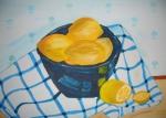 Zitronen in blauer Schale